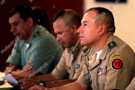 General Brigadier and Commander of the Seventh Division of the National Army of Colombia Juan Carlos Ramirez Trujillo (R) participates in a meeting of regional border controls Panama-Colombia, at a hotel in Panama City, Panama, 24 April 2019. The cooperation of Colombian and Panamanian security forces has weakened action on the common border of the Gulf Clan, a Colombian organization linked to drug trafficking, criminal mining and extortion of illegal migrants, senior officials of the two countries said a day earlier.