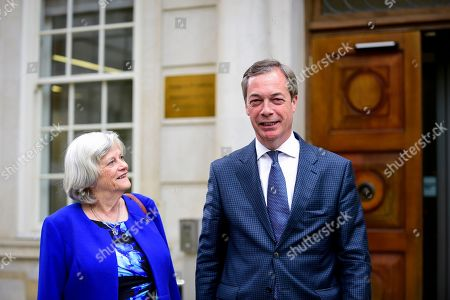 Nigel Farage and Ann Widdecombe, former Conservative MP, attend a photocall for the Brexit Party at Smith Square, Westminster.