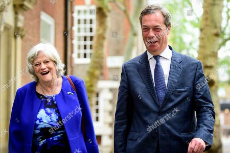 Stock Picture of Nigel Farage and Ann Widdecombe, former Conservative MP, attend a photocall for the Brexit Party at Smith Square, Westminster.