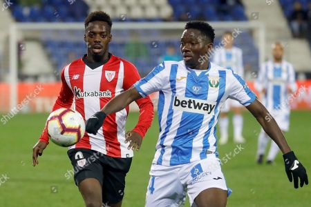 Athletic de Bilbao's Inaki Williams (L) in action against Leganes' Kenneth Omeruo (R) during the Spanish LaLiga soccer match between Athletic Bilbao and CD Leganes at the Butarque stadium in Leganes, Madrid, Spain, 24 April 2019.
