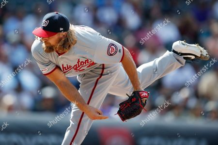 Stock Picture of Trevor Rosenthal, r m. Washington Nationals relief pitcher Trevor Rosenthal works against the Colorado Rockies in the eighth inning of a baseball game, in Denver