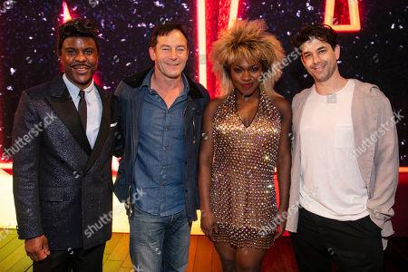 Ashley Zhangazha (Ike Turner), Jason Isaacs, Nkeki Obi-Melekwe (Tina Turner) and Adam Garcia backstage