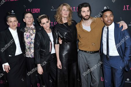 "Savannah Knoop, Justin Kelly, Kristen Stewart, Laura Dern, Jim Sturgess, Kelvin Harrison Jr. Savannah Knoop, from left, Justin Kelly, Kristen Stewart, Laura Dern, Jim Sturgess and Kelvin Harrison Jr. attend the LA Premiere of ""JT LeRoy"" at ArcLight Hollywood, in Los Angeles"