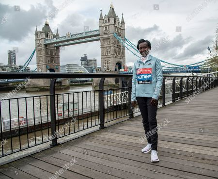 Mary Keitany seen during the Elite women's photocall ahead of Sunday's London Marathon at the Tower Hotel in London.