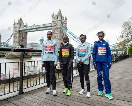 Gladys Cherono, Vivian Cheruiyot, Mary Keitany and Bridget Kosgei seen during the Elite women's photocall ahead of Sunday's London Marathon at the Tower Hotel in London.