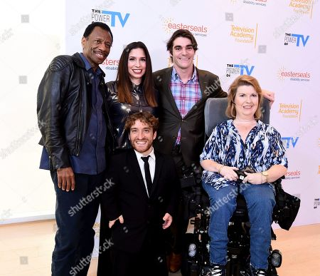 "Stock Photo of CJ Jones, Shoshannah Stern, Nic Novicki, RJ Mitte, Jenni Gold. CJ Jones, from left, Shoshannah Stern, Nic Novicki, RJ Mitte, and Jenni Gold attend ""The Power of TV: Representing Disability in Storytelling,"" a public event and co-presentation of the Television Academy Foundation and Easterseals on at the Saban Media Center in North Hollywood, Calif"