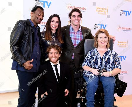 """CJ Jones, Shoshannah Stern, Nic Novicki, RJ Mitte, Jenni Gold. CJ Jones, from left, Shoshannah Stern, Nic Novicki, RJ Mitte, and Jenni Gold attend """"The Power of TV: Representing Disability in Storytelling,"""" a public event and co-presentation of the Television Academy Foundation and Easterseals on at the Saban Media Center in North Hollywood, Calif"""