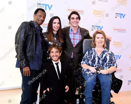 "Stock Picture of CJ Jones, Shoshannah Stern, Nic Novicki, RJ Mitte, Jenni Gold. CJ Jones, from left, Shoshannah Stern, Nic Novicki, RJ Mitte, and Jenni Gold attend ""The Power of TV: Representing Disability in Storytelling,"" a public event and co-presentation of the Television Academy Foundation and Easterseals on at the Saban Media Center in North Hollywood, Calif"
