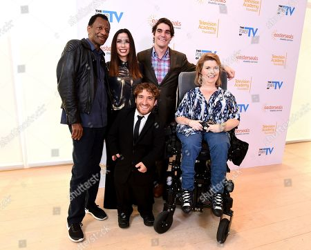 "Stock Image of CJ Jones, Shoshannah Stern, Nic Novicki, RJ Mitte, Jenni Gold. CJ Jones, from left, Shoshannah Stern, Nic Novicki, RJ Mitte, and Jenni Gold attend ""The Power of TV: Representing Disability in Storytelling,"" a public event and co-presentation of the Television Academy Foundation and Easterseals on at the Saban Media Center in North Hollywood, Calif"