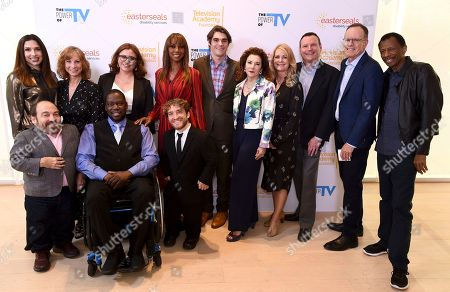 """Shoshannah Stern, Danny Woodburn, Nancy Weintraub, Katherine Perez, Daryl Mitchell, Nic Novicki, Holly Robinson Peete, RJ Mitte, Madeline Di Nonno, Molly Pyott, Mark Whitley, Jonathan Murray, CJ Jones. Shoshannah Stern, from left, Danny Woodburn, Nancy Weintraub, Chief Development Officer of Easterseals Southern California, Katherine Perez, Director of Coelho Center for Disability Law, Policy & Innovation at Loyola Law School, Daryl Mitchell, Nic Novicki, Holly Robinson Peete, RJ Mitte, Madeline Di Nonno, Chair Television Academy Foundation, Molly Pyott, Mark Whitley, CEO Easterseals Southern California, Jonathan Murray, and CJ Jones attend """"The Power of TV: Representing Disability in Storytelling,"""" a public event and co-presentation of the Television Academy Foundation and Easterseals on at the Saban Media Center in North Hollywood, Calif"""
