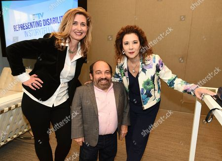 """Jodi Delaney, Danny Woodburn, Madeline Di Nonno. Jodi Delaney, Executive Director Television Academy Foundation, from left, Danny Woodburn, and Madeline Di Nonno, Chair Television Academy Foundation, attend """"The Power of TV: Representing Disability in Storytelling,"""" a public event and co-presentation of the Television Academy Foundation and Easterseals on at the Saban Media Center in North Hollywood, Calif"""