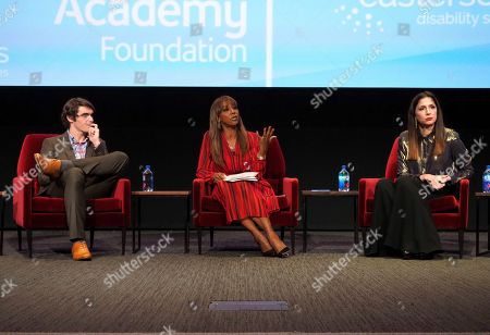 """RJ Mitte, Holly Robinson Peete, Shoshannah Stern. RJ Mitte, from left, Holly Robinson Peete, and Shoshannah Stern take part in a lively panel discussion, """"The Power of TV: Representing Disability in Storytelling,"""" a public event and co-presentation of the Television Academy Foundation and Easterseals on at the Saban Media Center in North Hollywood, Calif"""