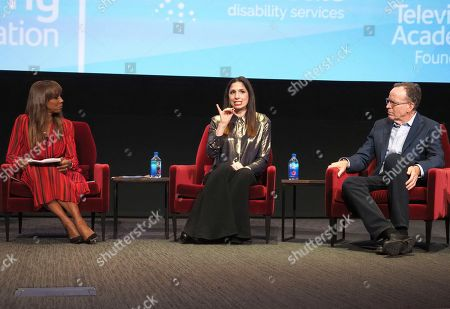 """Stock Image of Holly Robinson Peete, Shoshannah Stern, Jonathan Murray. Holly Robinson Peete, from left, Shoshannah Stern, and Jonathan Murray, founder of Bunim/Murray Productions, take part in a lively panel discussion, """"The Power of TV: Representing Disability in Storytelling,"""" a public event and co-presentation of the Television Academy Foundation and Easterseals on at the Saban Media Center in North Hollywood, Calif"""