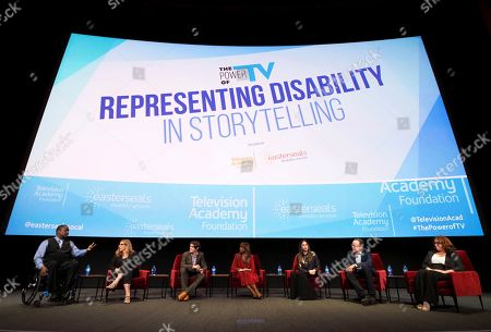 Daryl Mitchell, Krista Vernoff, RJ Mitte, Holly Robinson Peete, Shoshannah Stern, Jonathan Murray, Katherine Perez. Daryl Mitchell, from left, Krista Vernoff, show runner and executive producer of Grey's Anatomy, takes part in a lively panel discussion