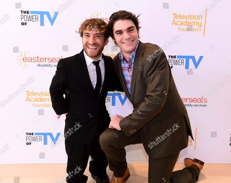 """Nic Novicki, RJ Mitte. Nic Novicki, left, and RJ Mitte attend """"The Power of TV: Representing Disability in Storytelling,"""" a public event and co-presentation of the Television Academy Foundation and Easterseals on at the Saban Media Center in North Hollywood, Calif"""