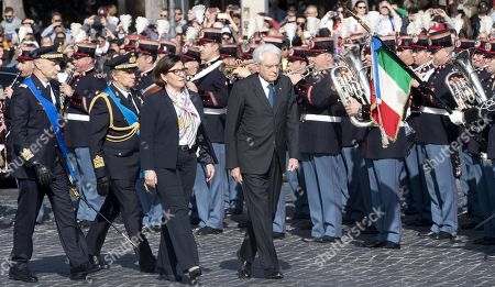 Italian President Sergio Mattarella (R) and Italian Defence Minister Elisabetta Trenta (L) attend a wreath-laying ceremony at the Altar of the Fatherland marking the 73nd Liberation Day in Rome, Italy, 25 April 2019. Liberation Day (Festa della Liberazione) is a nationwide public holiday in Italy that is annually celebrated on 25 April. The day remembers Italians who fought against the Nazis and Mussolini's troops during World War II and honors those who served in the Italian Resistance.