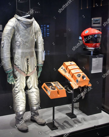 Discovery spacesuit and Discovery helmet worn by Keir Dullea as astronaut David Bowman in '2001 A Space Odyssey'