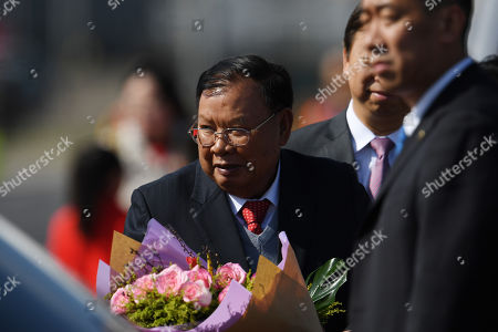 Laos President Bounnhang Vorachith (C) arrives at Beijing International airport to attend the Belt and Road Forum in Beijing, China, 25 April 2019. Leaders from 37 countries have been converging in Beijing for the Belt and Road Forum on 25 April.