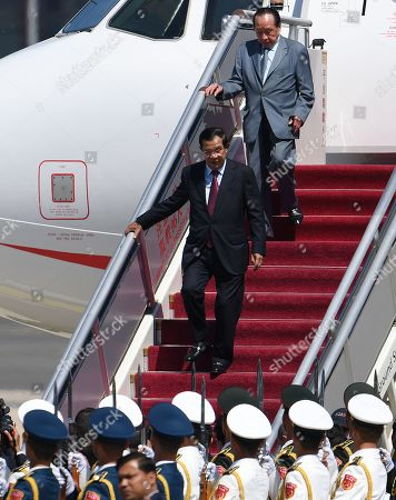 Cambodia's Prime Minister Hun Sen arrives at Beijing airport to attend the Belt and Road Forum in Beijing, China, 25 April 2019. Leaders from 37 countries have been converging in Beijing for the Belt and Road Forum on 25 April.