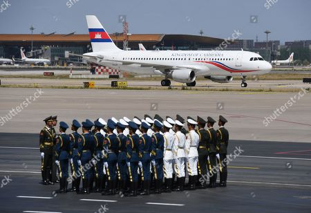The plane carrying Cambodia's Prime Minister Hun Sen arrives at Beijing airport ahead of the Belt and Road Forum in Beijing, China, 25 April 2019. Leaders from 37 countries have been converging in Beijing for the Belt and Road Forum on 25 April.