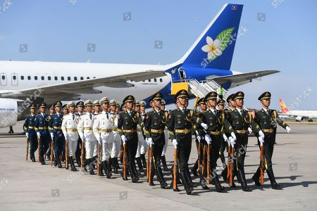 A Chinese military honour guard marches off after greeting Laos President Bounnhang Vorachith (not seen) on his arrival at Beijing airport ahead of the Belt and Road Forum in Beijing, China, 25 April 2019. Leaders from 37 countries have been converging in Beijing for the Belt and Road Forum on 25 April.