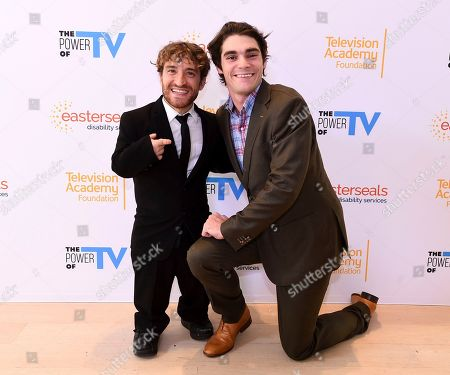 """Stock Picture of Nic Novicki, RJ Mitte. Nic Novicki, left, and RJ Mitte attend """"The Power of TV: Representing Disability in Storytelling,"""" a public event and co-presentation of the Television Academy Foundation and Easterseals on at the Saban Media Center in North Hollywood, Calif"""