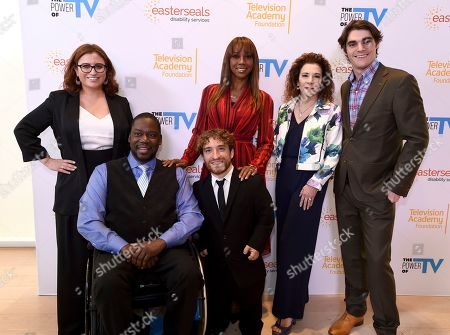 """Katherine Perez, Daryl Mitchell, Nic Novicki, Holly Robinson Peete, Madeline Di Nonno, RJ Mitte. Katherine Perez, Director of Coelho Center for Disability Law, Policy & Innovation at Loyola Law School, from left, Daryl Mitchell, Nic Novicki, Holly Robinson Peete, Madeline Di Nonno, Chair Television Academy Foundation, and RJ Mitte attend """"The Power of TV: Representing Disability in Storytelling,"""" a public event and co-presentation of the Television Academy Foundation and Easterseals on at the Saban Media Center in North Hollywood, Calif"""