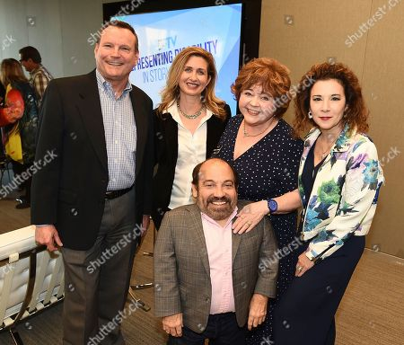"""Mark Whitley, Jodi Delaney, Danny Woodburn, Patrika Darbo, Madeline Di Nonno. Mark Whitley, CEO Easterseals Southern California, from left, Jodi Delaney, Executive Director Television Academy Foundation, Danny Woodburn, Patrika Darbo, and Madeline Di Nonno, Chair Television Academy Foundation, attend """"The Power of TV: Representing Disability in Storytelling,"""" a public event and co-presentation of the Television Academy Foundation and Easterseals on at the Saban Media Center in North Hollywood, Calif"""