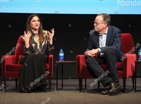 """Stock Photo of Shoshannah Stern, Jonathan Murray. Shoshannah Stern, left, and Jonathan Murray, founder of Bunim/Murray Productions, take part in a lively panel discussion, """"The Power of TV: Representing Disability in Storytelling,"""" a public event and co-presentation of the Television Academy Foundation and Easterseals on at the Saban Media Center in North Hollywood, Calif"""