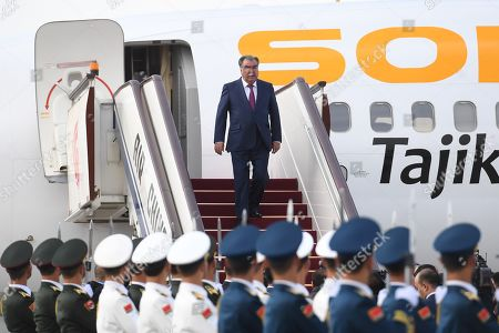 Stock Picture of Tajikistan's President Emomali Rahmon arrives at Beijing airport ahead of the Belt and Road Forum in Beijing, China, 25 April 2019. Leaders from 37 countries have been converging in Beijing for the Belt and Road Forum on 25 April.