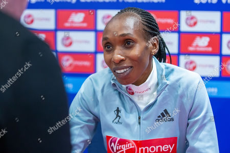 Vivian Cheruiyot during the Elite women's press conference
