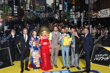 Ryan Reynolds, Justice Smith, Kathryn Newton, director Rob Letterman, Ken Watanabe