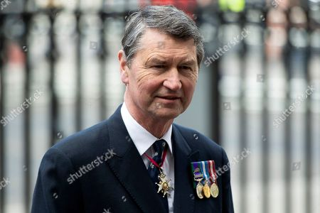 Stock Photo of Commander Timothy Laurence, retired Royal Navy officer and the second husband of Princess Anne, arrives ahead of a service to mark Anzac Day at Westminster Abbey in Central London, Britain, 25 April 2019. ANZAC Day is a day of commemoration for those who died in the 1915 ANZAC (Australian and New Zealand Army Corps) while fighting in the Gallipoli landings of World War I, as well as remembrance for the Allied soldiers who died building the infamous Death Railway between Thailand and Myanmar, mainly at Hellfire Pass in Thailand.