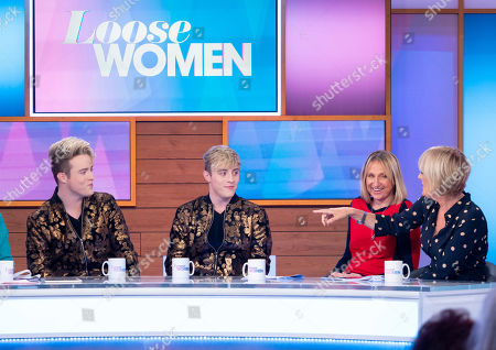 Stock Picture of Jedward - John Grimes and Edward Grimes, Carol McGiffin and Jane Moore