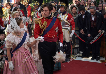 Jenna Coleman as Queen Victoria and Tom Hughes as Victoria.