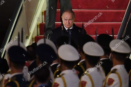 Stock Photo of Russia's President Vladimir Putin arrives at Beijing airport ahead of the Belt and Road Forum in Beijing, China, 25 April 2019. Leaders from 37 countries have been converging in Beijing for the Belt and Road Forum on April 25.