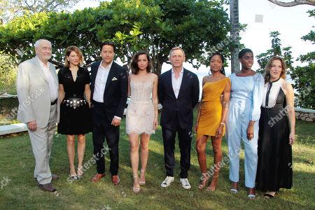 Michael G Wilson, Lea Seydoux, Cary Fukunaga, Ana de Armas, Daniel Craig, Naomie Harris, Lashana Lynch and Barbara Broccoli