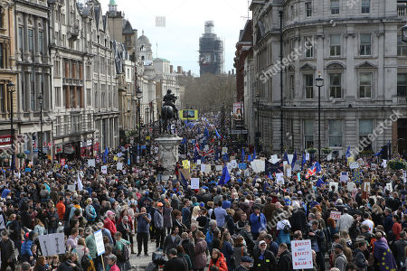Stock Image of The Peoples Vote Anti-Brexit March moves down Whitehall