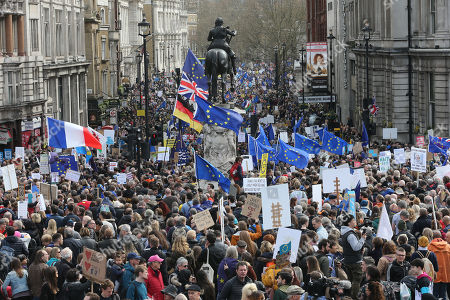 The Peoples Vote Anti-Brexit March moves down Whitehall