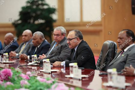 Papua New Guinea Prime Minister Peter O'Neill (2-R) and delegations sit for a bilateral meeting with the Chinese President (not pictured) at the Second Belt and Road Forum at the Great Hall of the People in Beijing, China, 25 April 2019. Beijing hosts the Second Belt and Road Forum for International Cooperation.
