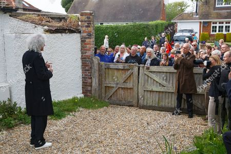 Brian May gives a speach at Sir Patrick's former home
