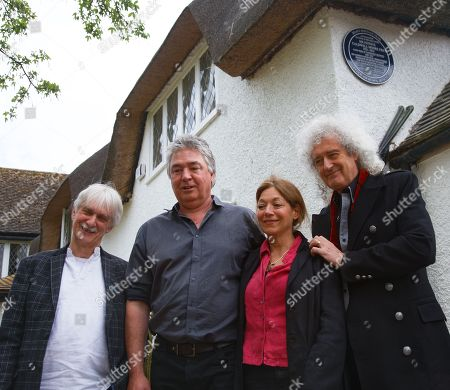 Editorial image of Blue plaque and bench unveiled at home of Sir Patrick Moore, West Sussex, UK - 24 Apr 2019