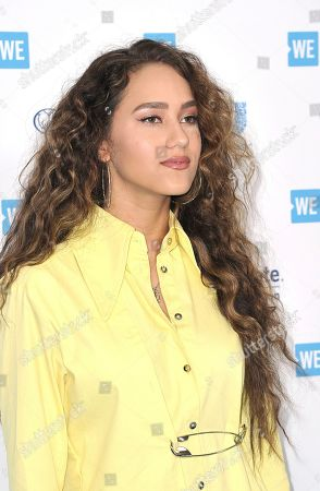 Skylar Stecker arrives at WE Day California at The Forum, in Inglewood, Calif