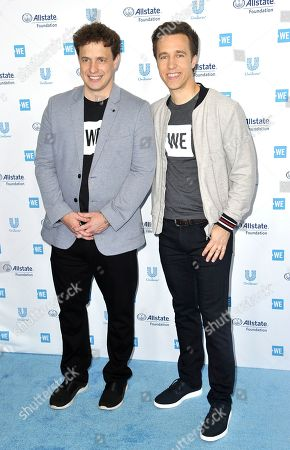 Marc Kielburger, Craig Kielburger. Marc Kielburger, left, and Craig Kielburger arrive at WE Day California at The Forum, in Inglewood, Calif
