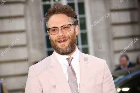 Seth Rogan poses for photographers at the premiere of the film 'Long Shot' in London