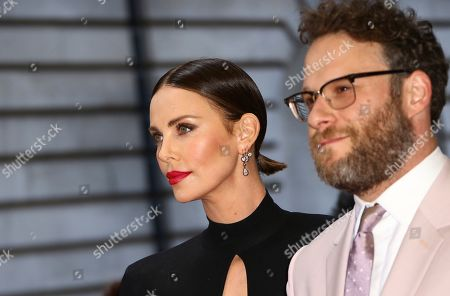 Stock Picture of Charlize Theron, Seth Rogan. Actors Charlize Theron, left, and Seth Rogan pose for photographers at the premiere of the film 'Long Shot' in London