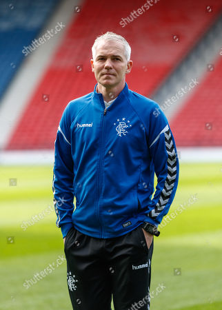 Stock Picture of Rangers Youth Team Coach David McCallum on the pitch shortly after arriving at Hampden Park.