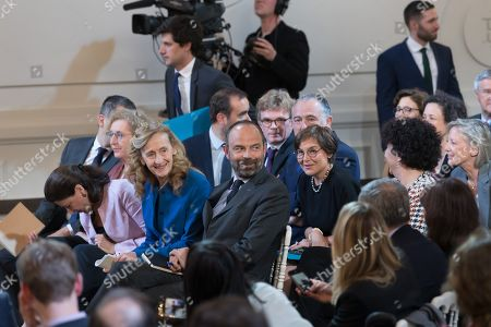 French Justice Minister Nicole Belloubet with French Prime Minister Edouard Philippe and French Overseas Minister Annick Girardin during the press conference