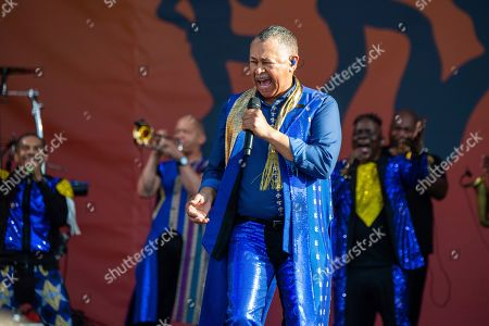 Ralph Johnson of Earth, Wind & Fire performs at the New Orleans Jazz and Heritage Festival, in New Orleans