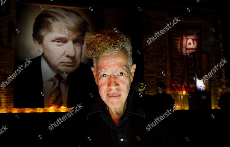 Artist Andres Serrano poses for a portrait in his new installation 'The Game: All Things Trump', a display of over 1,000 pieces of Donald Trump-related memorabilia and souvenirs collected by Serrano, in New York, New York, USA, 25 April 2019. The items in the installation, which Serrano purchased over the past year at auctions and on eBay, span from Trump's early days in the New York, to his days on television and up to the present day.